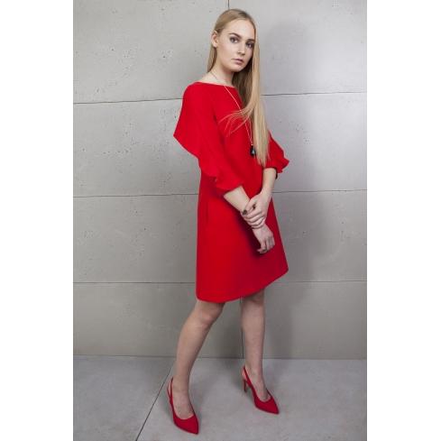 Sukienta czerwona z wolantem
