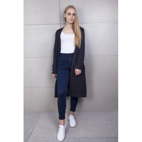 Sweter długi szary