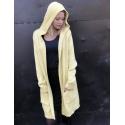 Sweter żółty długi z kapturem
